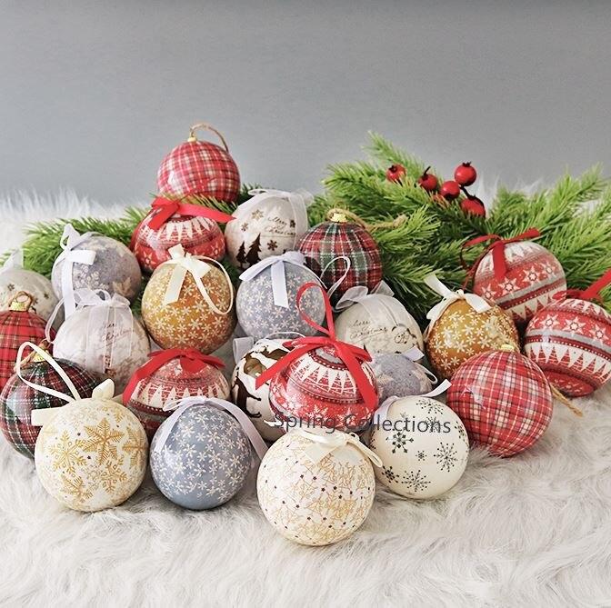 14pcs/pack Dia.7 7.5cm Ribbon Christmas Tree Decor Ball Xmas Party Snowflake Reindeer Hanging Ball Ornament for Home Christmas-in Ball Ornaments from Home & Garden    1
