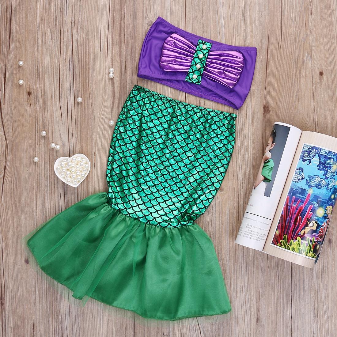 1817132053 Two-piece Cartoon Little Girl Mermaid Swimwear Baby Girls Tail Bikinis Set Costume  Swim-wears Swimming Suit Outfits Dress