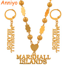 Anniyo MARSHALL ISLANDS Beads Pendant Necklaces Earrings sets for Womens Trendy Ball Chains Jewelry Gifts #043121S anniyo micronesia jewelry sets with stone pendant earrings round ball beads chain necklaces marshall jewellery guam 124506s