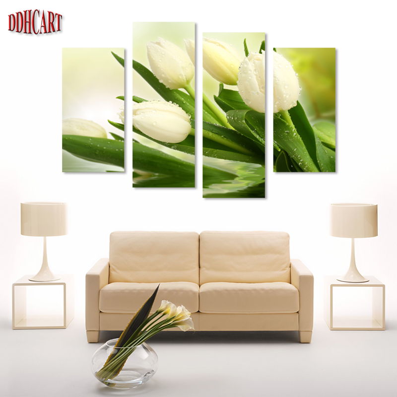 Free Shipping 100% High Quality Best-Selling White Tulips Home Decoration Modern Oil Painting on Canvas