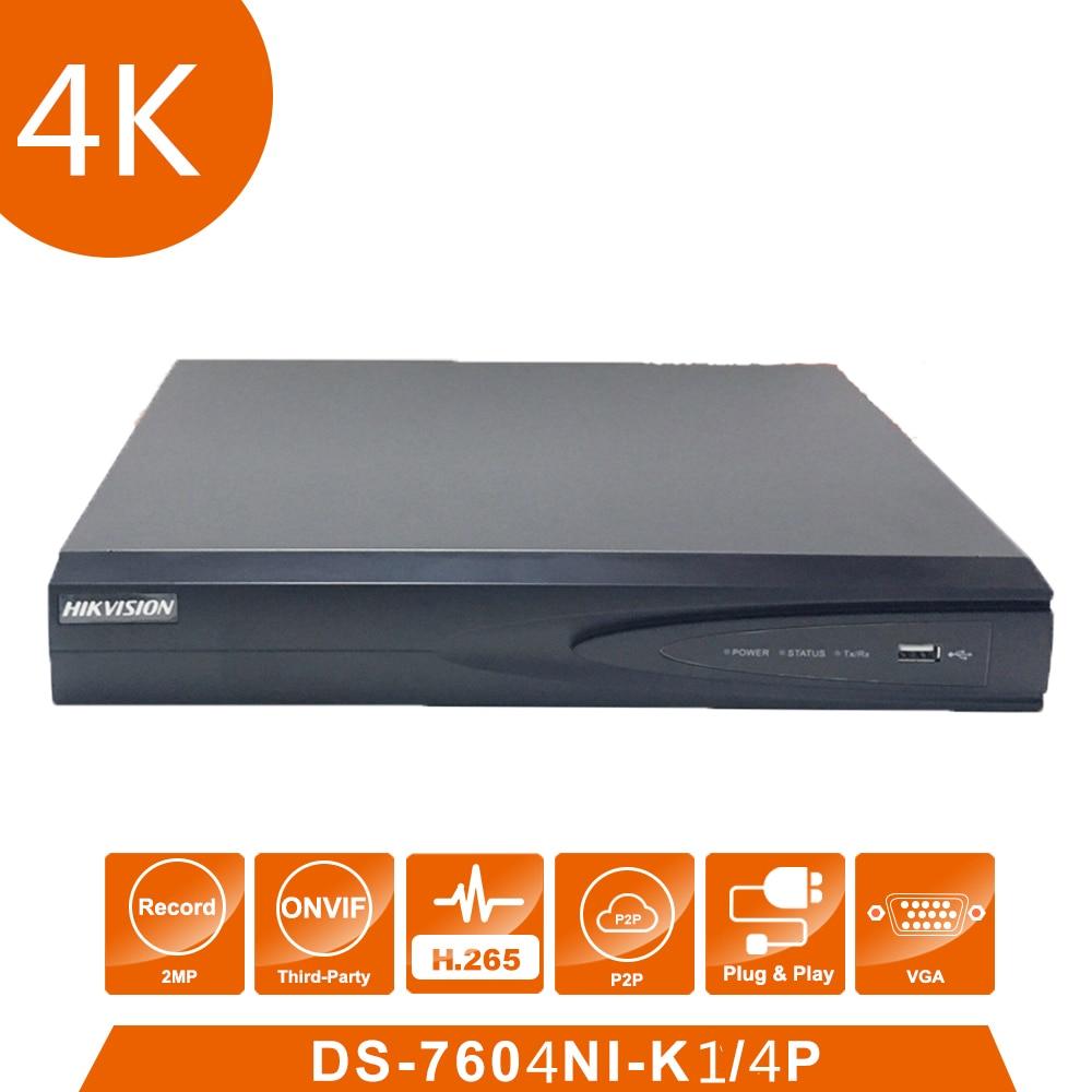 Original Hik vision English Version DS-7604NI-K1/4P 4 POE ports 4K 4ch Cameras plug & play NVR with POE Injector hikvision 1080p cctv system onvif 4ch nvr ds 7604ni e1 4p economic poe nvr plug