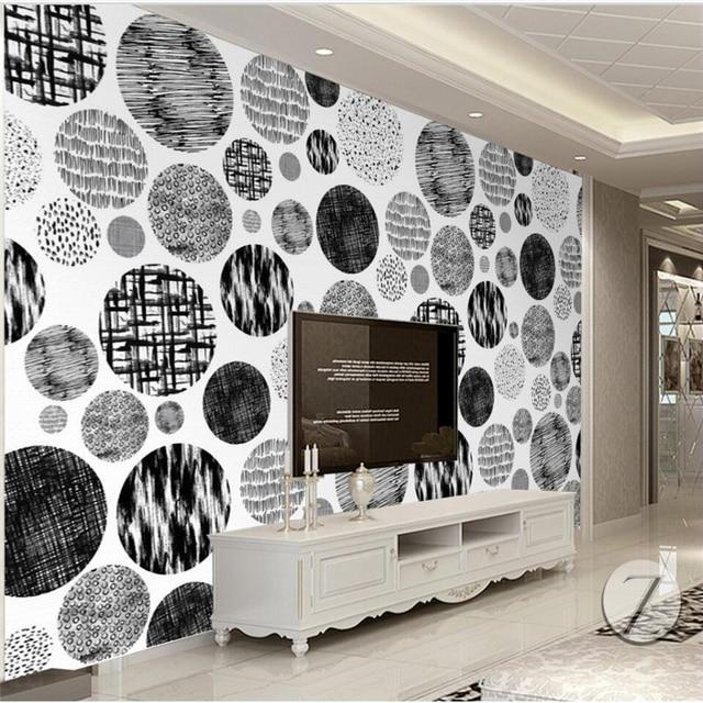 Beibehang Nordique Simple Noir Et Blanc Abstrait Cercle Fond Mur