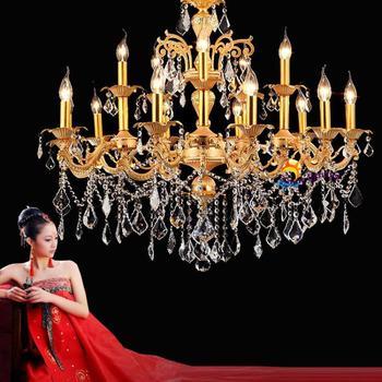 Candelabro Vela Colgante | Lámparas De Vela Led Antiguas Candelabros De Cristal Dorado Colgantes De Lujo Vintage Gran Candelabro Hotel Villa Sala De Estar