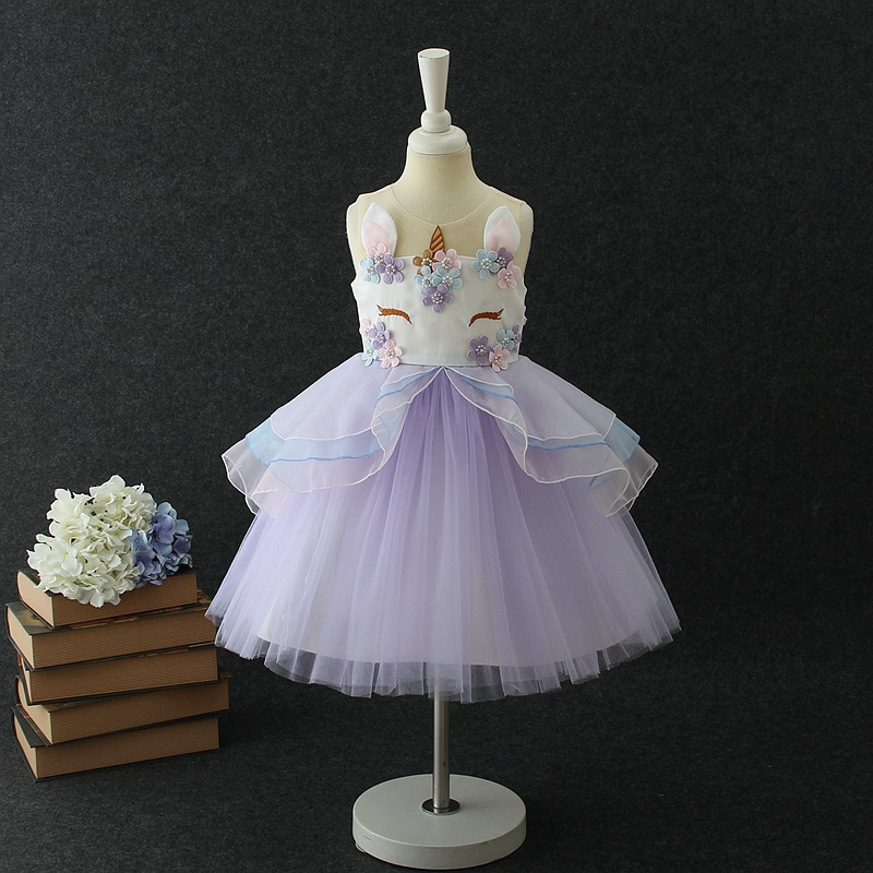 Lovely Kids Dress Unicorn dla dziewczynek Haft Flower Ball suknia - Ubrania dziecięce - Zdjęcie 4