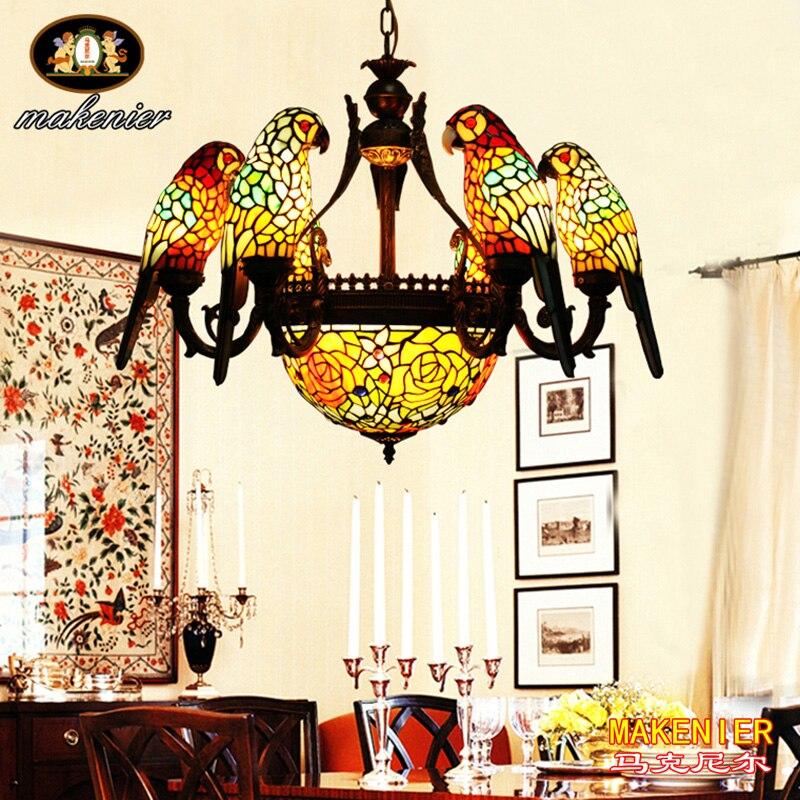 Makernier Vintage Tiffany stijl glas in lood 6 armen papegaaien - Binnenverlichting