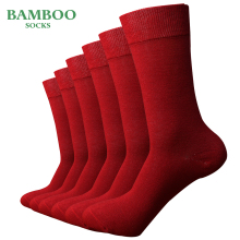 Match Up  Men Bamboo red Socks Breathable Anti Bacterial man Business Dress Socks (6 Pairs/Lot)