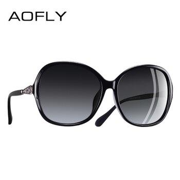 9c6c549436 AOFLY Marca Diseño clásico polarizado gafas de sol de las mujeres de gran  tamaño marco lente de diamantes de imitación gafas de sol A102