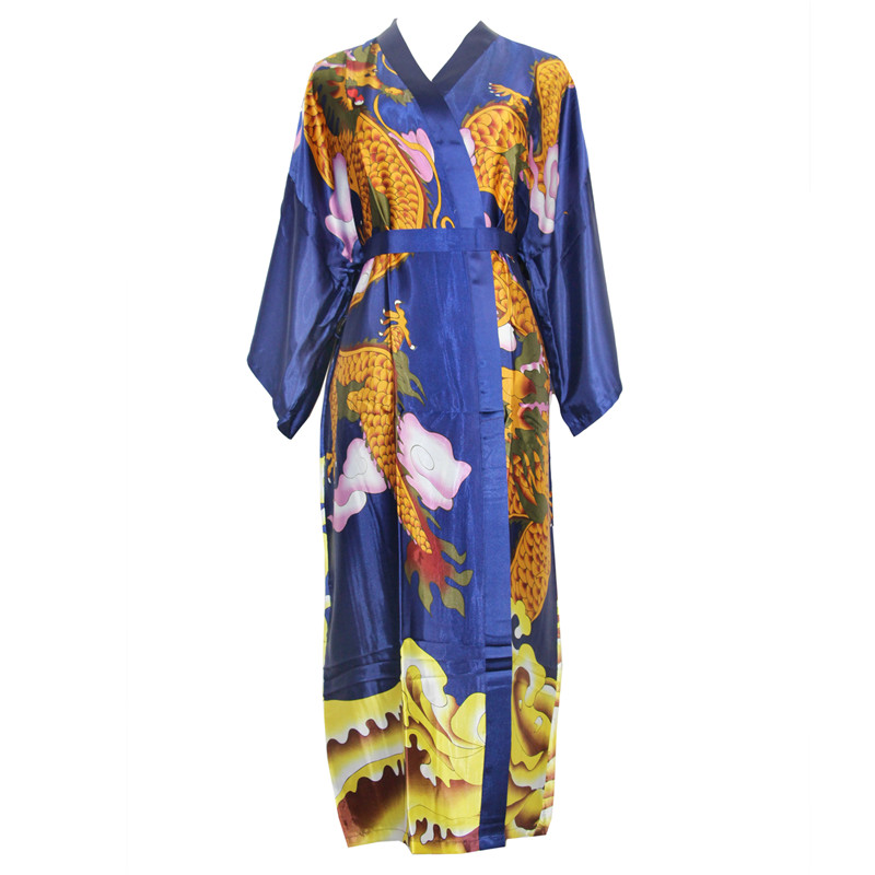 Red Traditional Print Dragon Sleepwear Long Robe Chinese Novelty Rayon Nightwear Women's Casual Kimono Home Wear Bathrobe