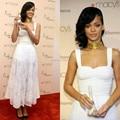 Сексуальный Белый Rihanna Платья Знаменитостей Длина Пола Sexy Длинные Red Carpet Платья