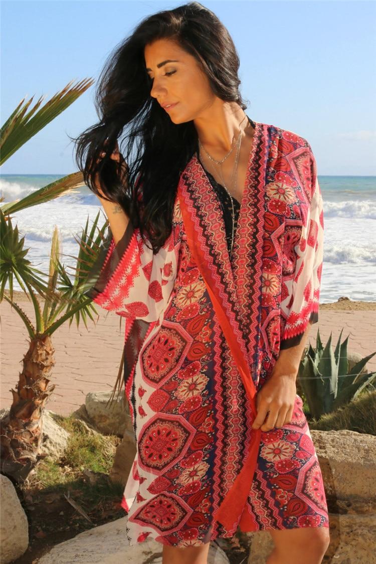 Drop Ship 2017 Women Bathing Suit Cover Ups Chiffon Beach Cover Up Wrap Dress Plus Size