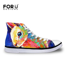 FORUDESIGNS Rabbit Printed High Top Women Shoes Retro 3D Painting Animals Casual Ladies Canvas Vulcanize Shoes Mujer Zapatillas