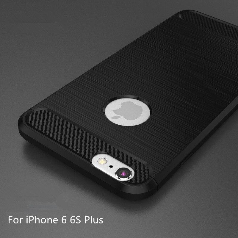 d2dc4c34e12e Pour iPhone 6 6 S Plus Cas Couverture En Fiber De Carbone Texture Brossé  souple En Silicone COQUE Arrière en TPU Pour iPhone 6 plus Téléphone Shell  Coque