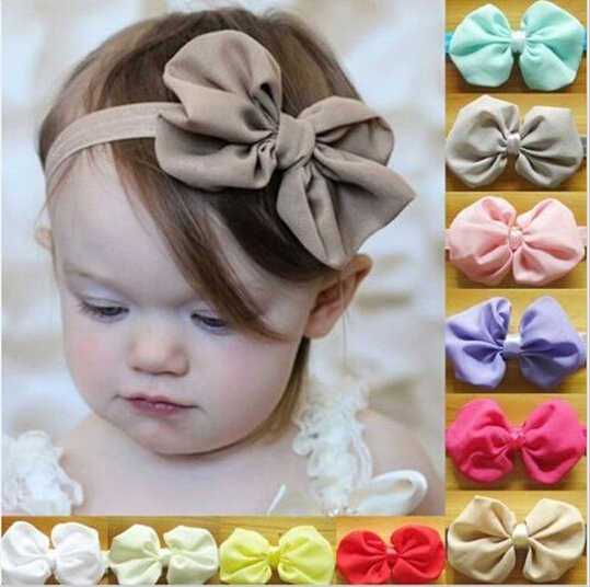 Chiffon Bowknot Kids Headbands Solid Color Kids Girl Elastic Hair Bands Headwear Hair Accessories 1 pcs A218-2