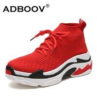 ADBOOV 2018 High Top Fashion Sneakers Women Breathable Knit Upper Platform Shoes Tenis Feminino Casual Shoes