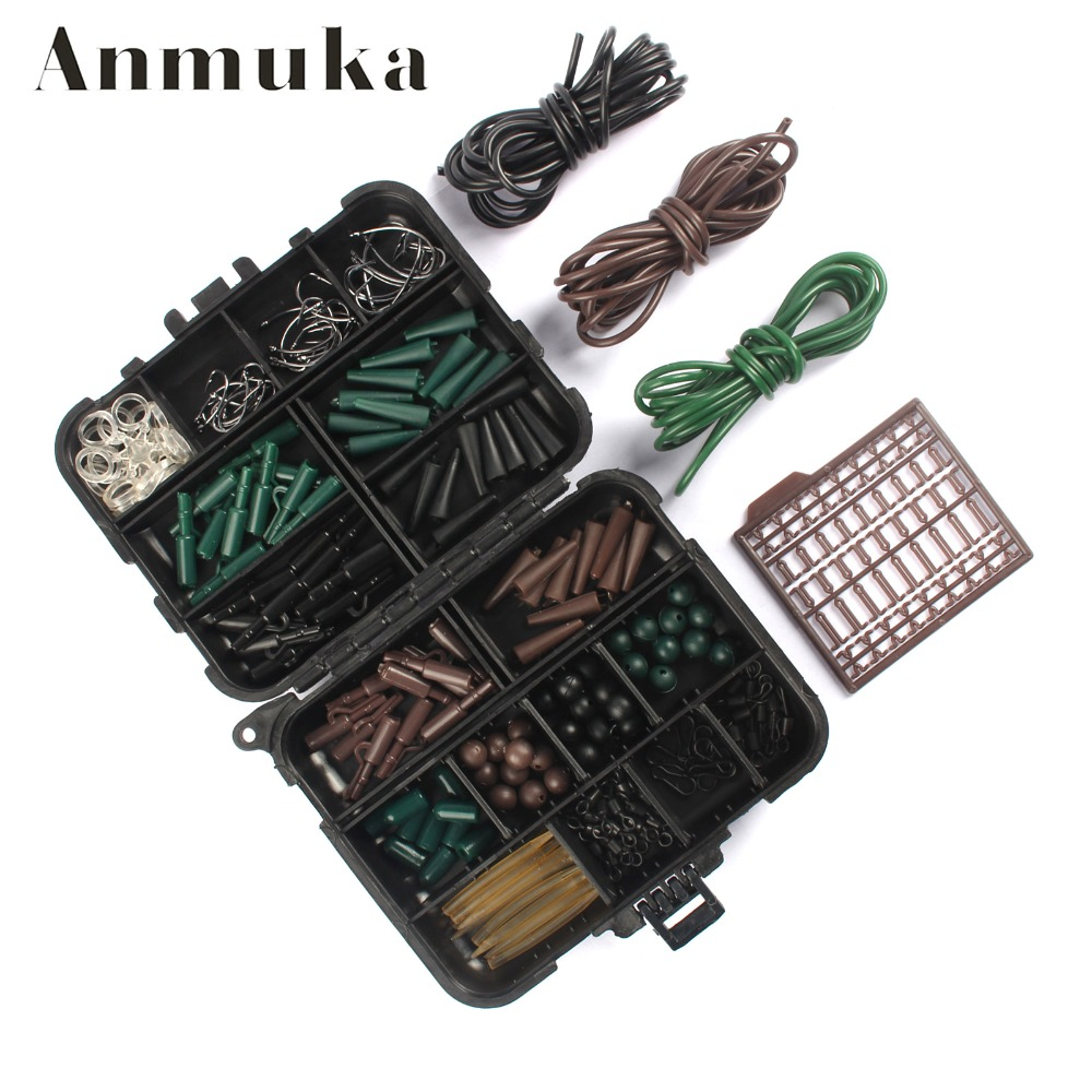 Anmuka Assorted <font><b>Carp</b></font> <font><b>Fishing</b></font> <font><b>Accessories</b></font> Tackle Boxes For Hair Rig Combo Box with Hooks,Rubber Tubes, Swivels, Beads,Etc