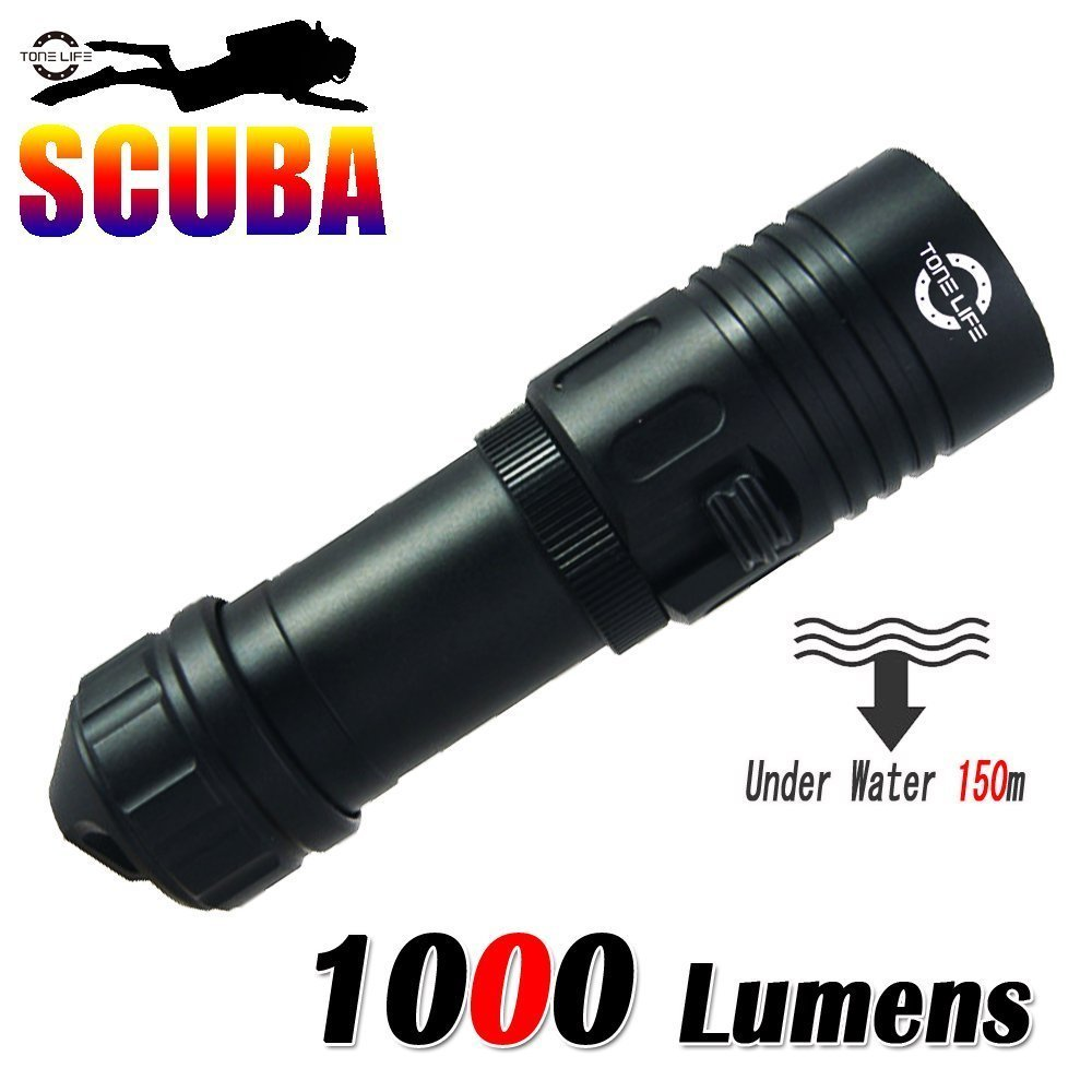 1000LM Cree Scuba Diving Masks Lights Dive LED Flashlight Torch 150m Underwater Fishing Handheld Torches Without
