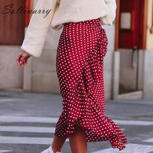 Sollinarry Polka Dot Wrap Ruffle verano falda mujeres 2019 nueva moda rojo Oficina Sexy falda femenina alta cintura Sash faldas elegante