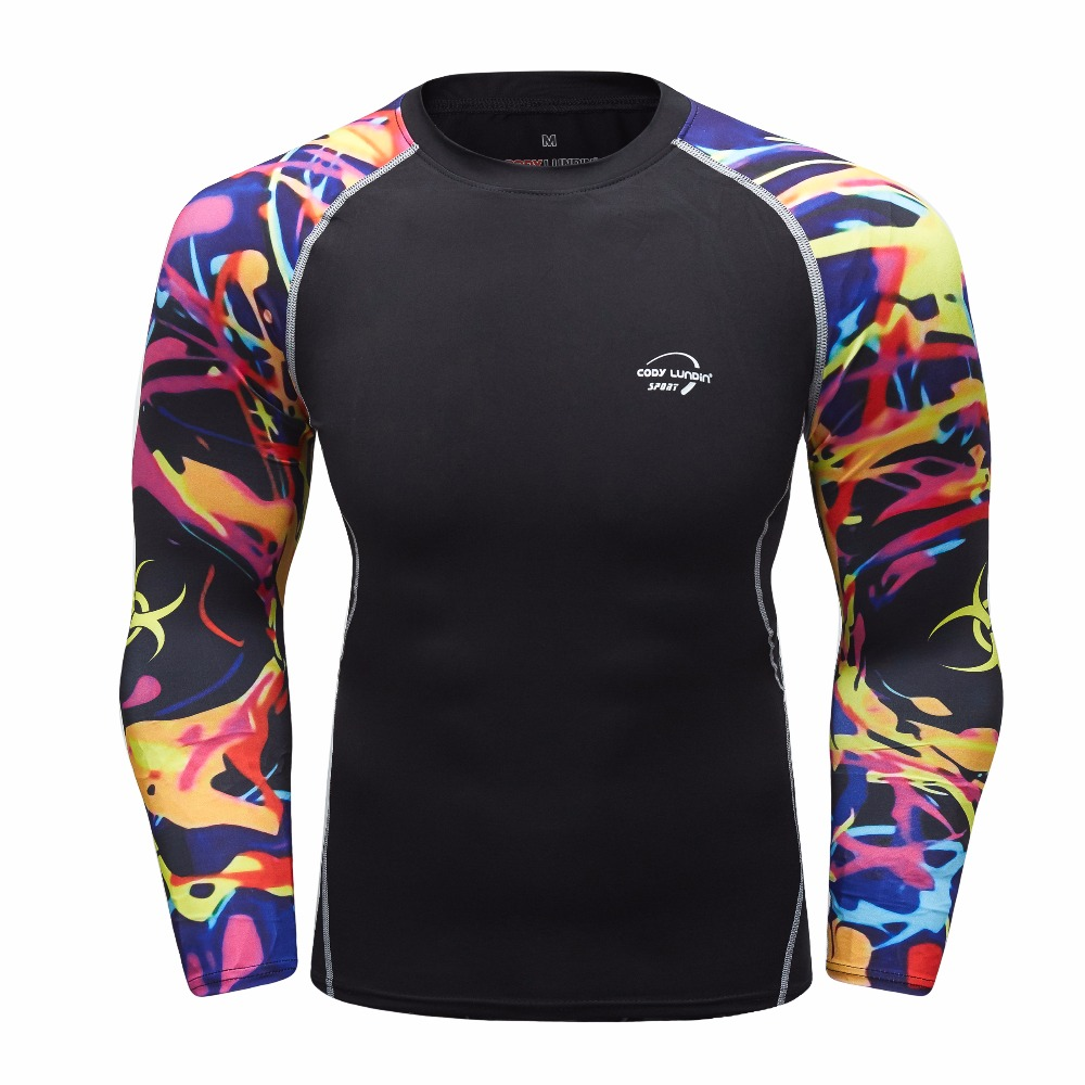 Men's Compression Shirt 3D Teen Long Sleeve Cycling Fitness Men's Sports Foundation Layer MMA Tights Jersey Brand Clothing