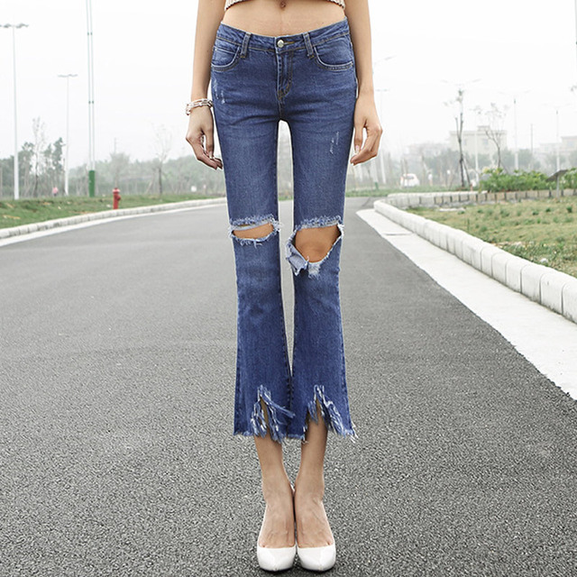 2017 mujeres de la manera pantalones vaqueros de cintura baja agujero flaco elástico pantalones de mezclilla rasgados pantalones acampanados pantalones flare pantalones h9