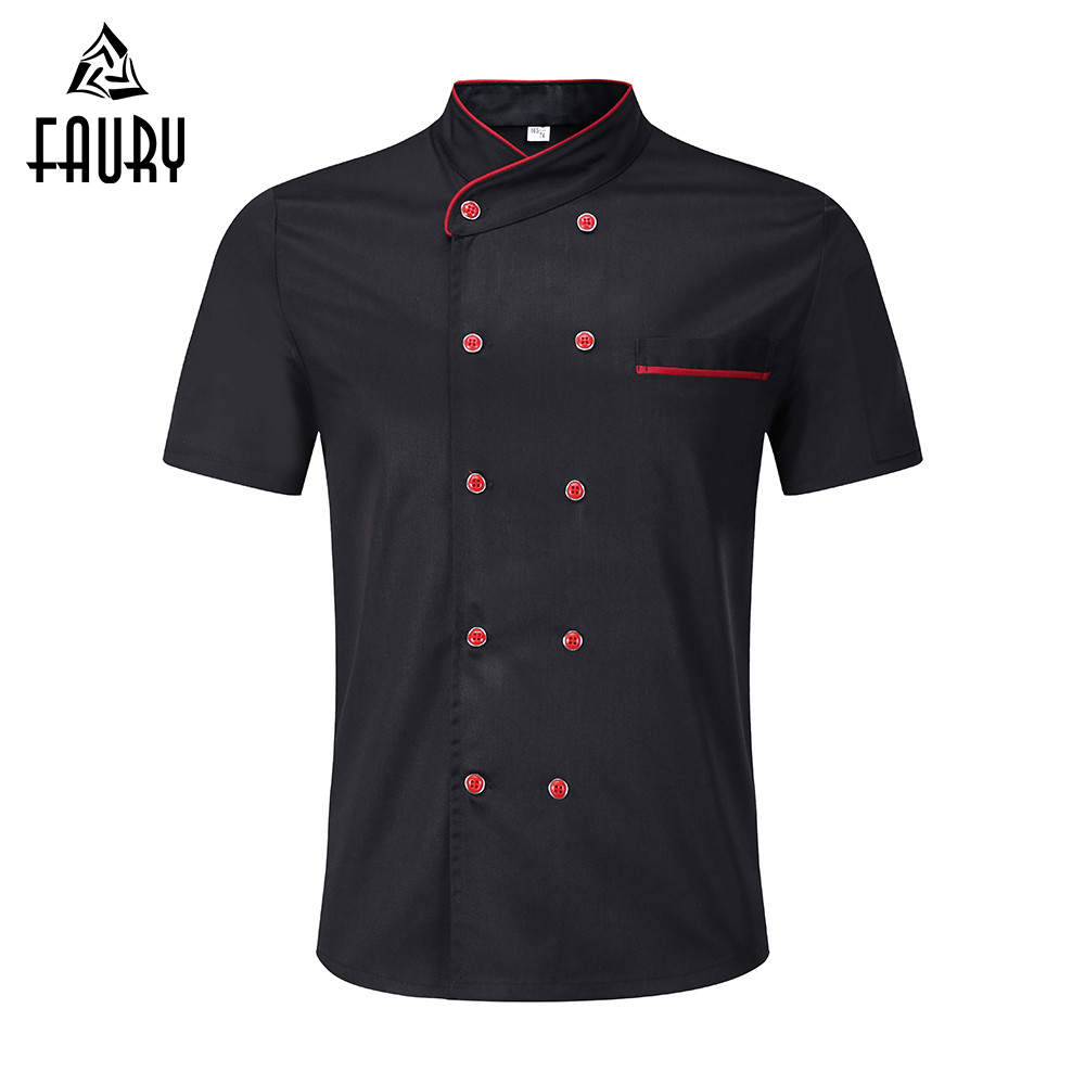 2018 New Chef Uniform Food Service Unisex Kitchen Short Sleeve Double Breasted Summer Cook Wear Bakery Chef Jacket Apron