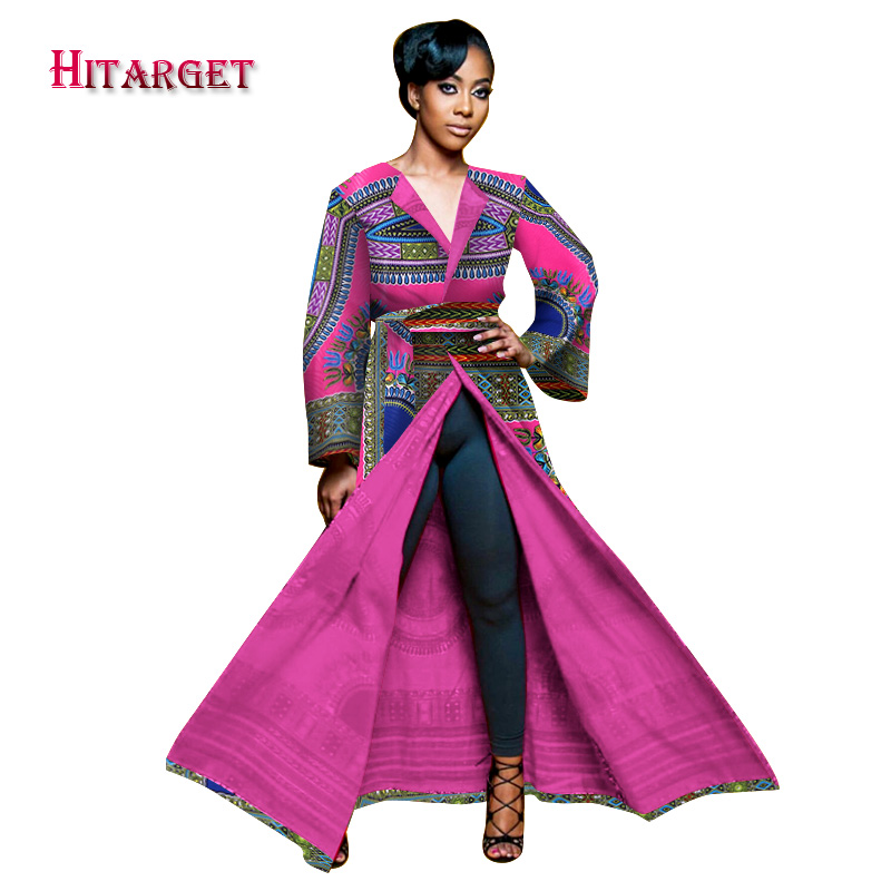 Hitarget African Autumn African Trench Coat For Women Plus Size Dashiki Africa Traditional Outerwear Clothing Full LiningWY1515