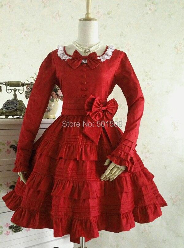 Livraison gratuite coton rouge/noir volants dentelle bowknot lolita robe robe médiévale belle balle cosplay/lolita/alice frenchmaid costume