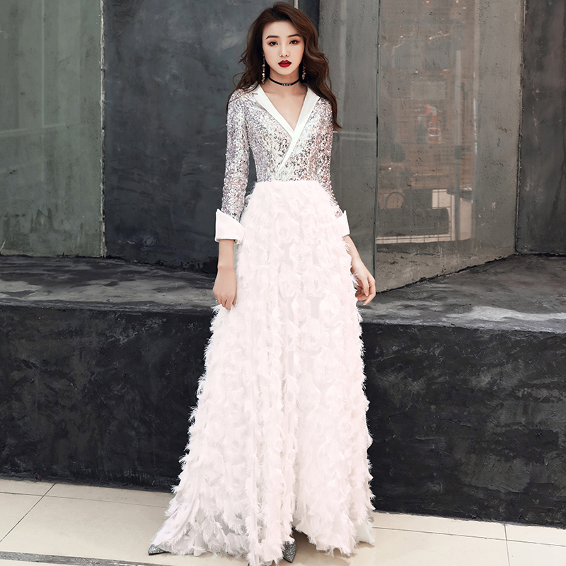 Image 3 - weiyin 2019 New V Neck Evening Dress The Banquet Elegant White 3/4 Sleeves Sequins Long Party Formal Gown WY1554 Robe De Soiree-in Evening Dresses from Weddings & Events