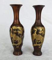 Collection 1 pair chinese old bronze crane vase Antique art home decoration vases Height 19 CM /7.8 INCH