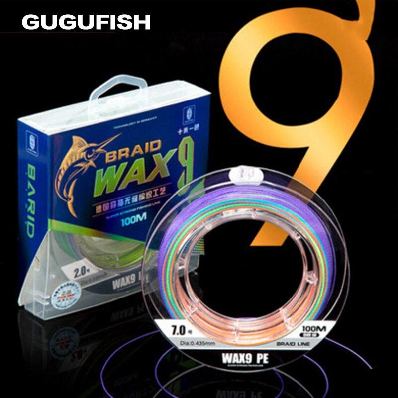 GUGUFISHG 9 strand 500m Multicolor fish line PE Multifilament Braided Fishing Line Ocean Fishing Super Strong Lines 10LB 80LB