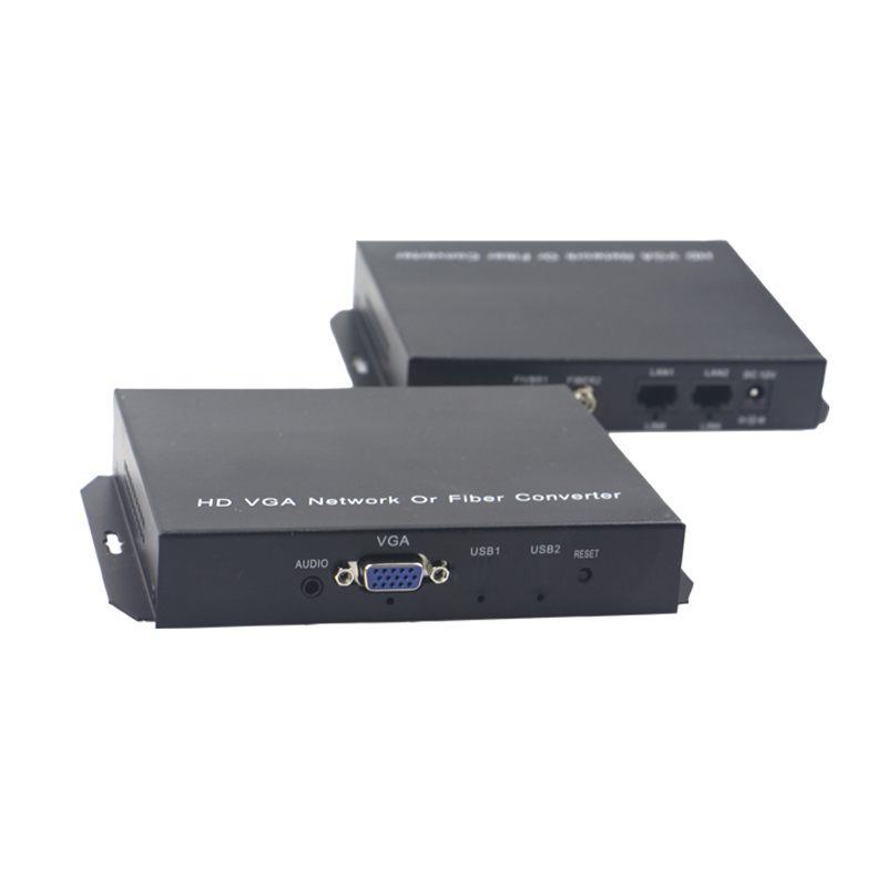 High Quality VGA Extender Optical fiber converters with Stereo 3.5mm Audio 1080P, FC optical port, Singlemode fiber up to 20Km