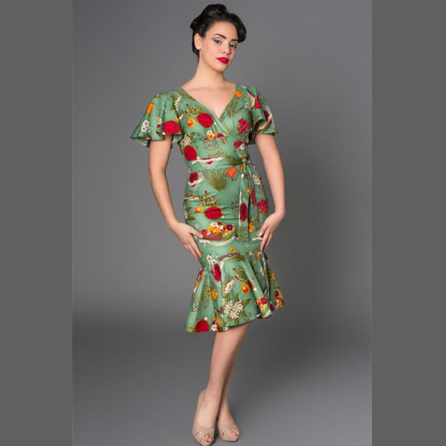 808567cf3dc 40- summer women vintage 50s frida kahlo wiggle mermaid vestidos in green pinup  clothing plus size jurken