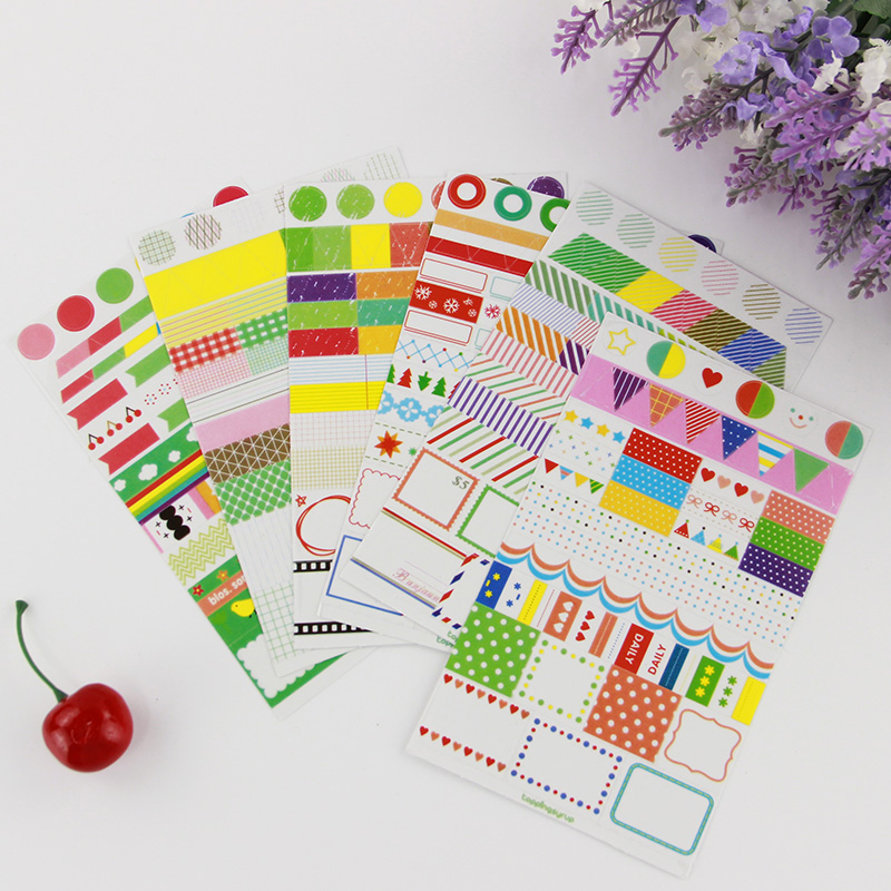 6 pcs lot rainbow colored paper sticker diy planner for Diy colored paper