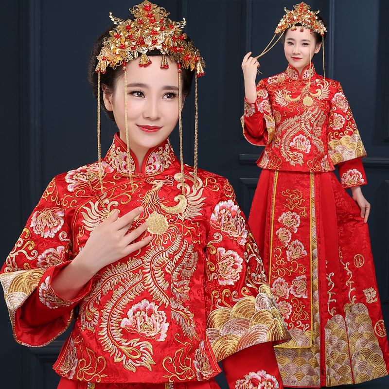Kimono Wedding Gown: China Vintage Cheongsam Bride Wedding Dress Dragon Gown