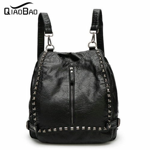 QIAOBAO High Quality England Vintage Style Leather Men Backpacks For College Preppy Style School Backpacks for
