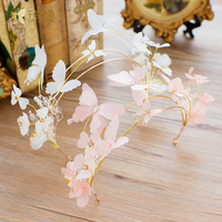 Fashion Pink White Crown Butterfly Hairband Tiara Crystal Floral Hairwear Sweet Bride Headpiece Wedding Accessory Mengtong