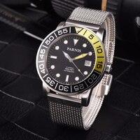 Parnis 42mm casual relógio automático masculino safira de cristal luminoso automático-data relógios mecânicos relógio de aço banda
