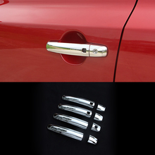 1pc car door left side handle passenger side offside chrome door handles for fiat 500 for right hand drive vehicles for Suzuki S-cross SX4 2014 15- 2018 Chrome  Door Handles Cover Trim sticker Side Handle with Smart Holes Car Accessories