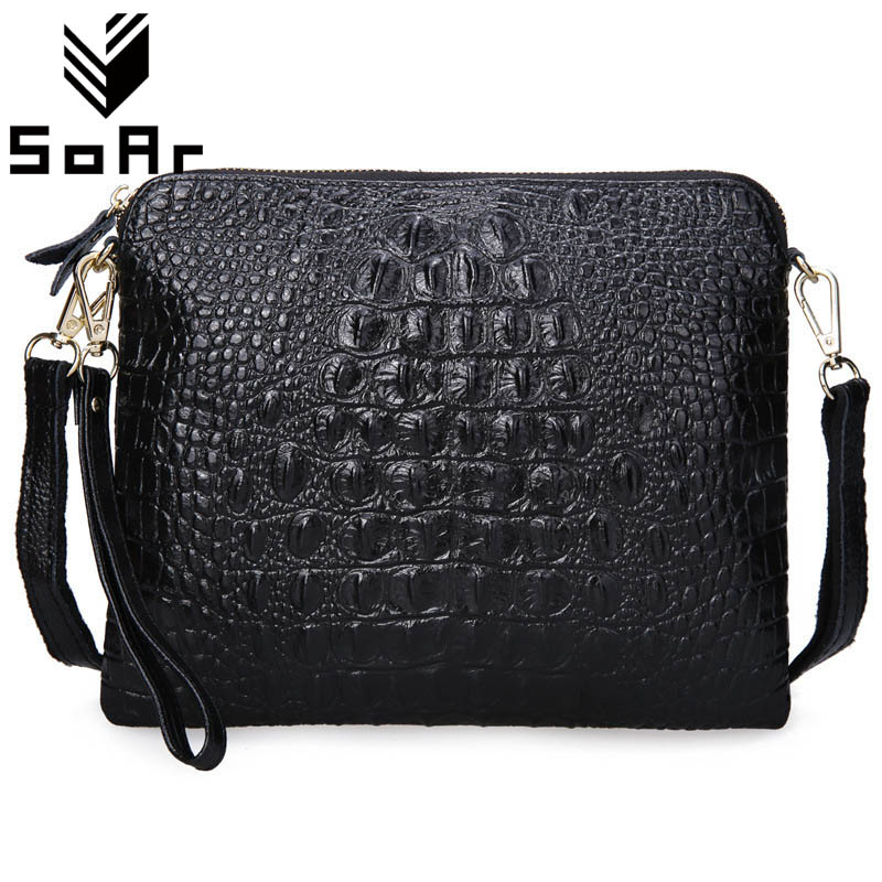 SoAr Women Bag Genuine Leather Cowhide Women Messenger Bags Crossbody Shoulder Bag Ladies Clutch Crocodile Pattern Small Handbag 2017 women bag cowhide genuine leather fashion folding handbag chain shoulder bag crossbody bag handbag party clutch long wallet