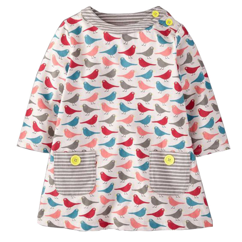 Baby Girls Dresses Cute Striped Animal Appliques Dress 100% Cotton Jersey Lovely Long Sleeve Casual Costume for Kids 10 Colors toddlers girls dots deer pleated cotton dress long sleeve dresses