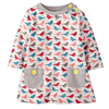 Baby Girls Dresses Cute Striped Animal Appliques Dress 100% Cotton Jersey Lovely Long Sleeve Casual Costume for Kids 10 Colors