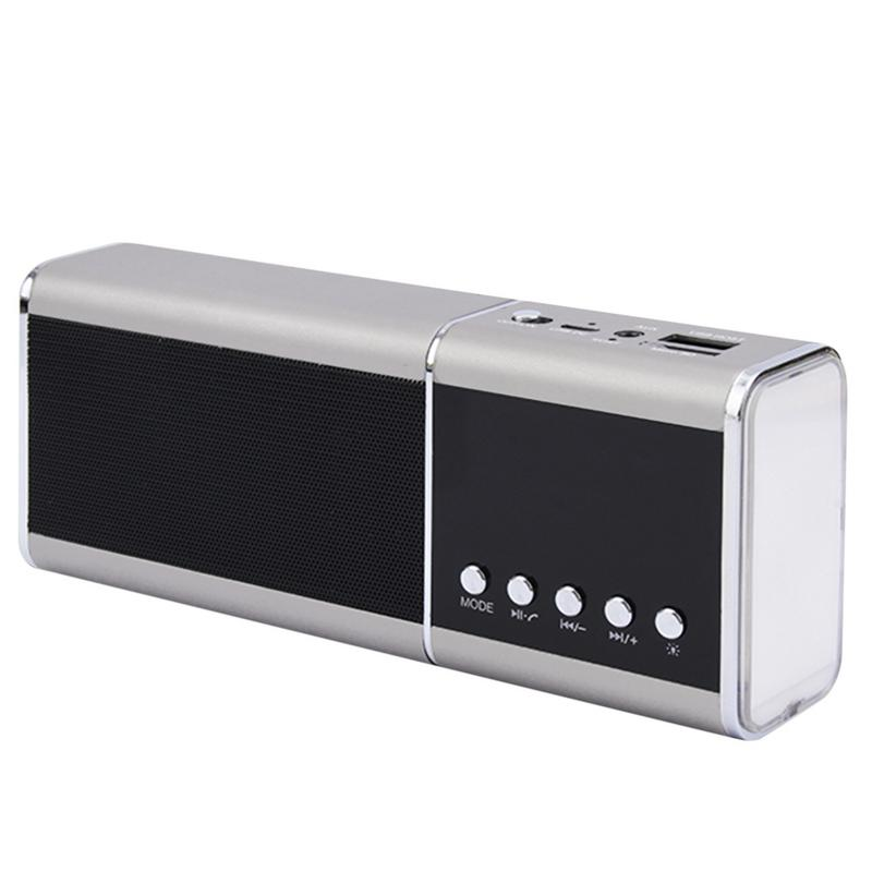 Portable Stereo Bluetooth Speaker Multi Function HIFI Stereo Subwoofer Aluminum Alloy TF Card Speaker With LED Time Alarm Clock