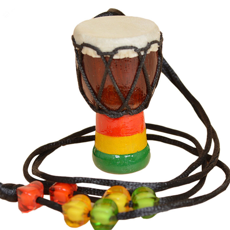 African Drum Pendant Beads Necklace Classic Mini