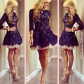 Free Shipping Elegant Factory Made A Line O Neck Lace Evening Short Dresses With 3/4 Sleeves MM14323