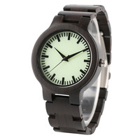 Luminous Dial Quartz Ebony Wooden Wrist Watch Fold Clasp Black Full Wood Bracelet Watches Men Trendy Green Face Gift