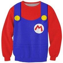 Cloudstyle 2018 Fashion 3D Anime Sweatshirts Men Super Mario Cosplay Clothing 3D Cartoon Print Longsleeve Pullovers Tops