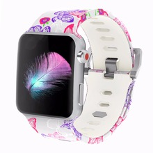 Bemorcabo Print Colorful Replacement Sport Band for Apple Watch Series 3/2/1,Soft Silicone Wristband Strap Bands iwatch 42mm