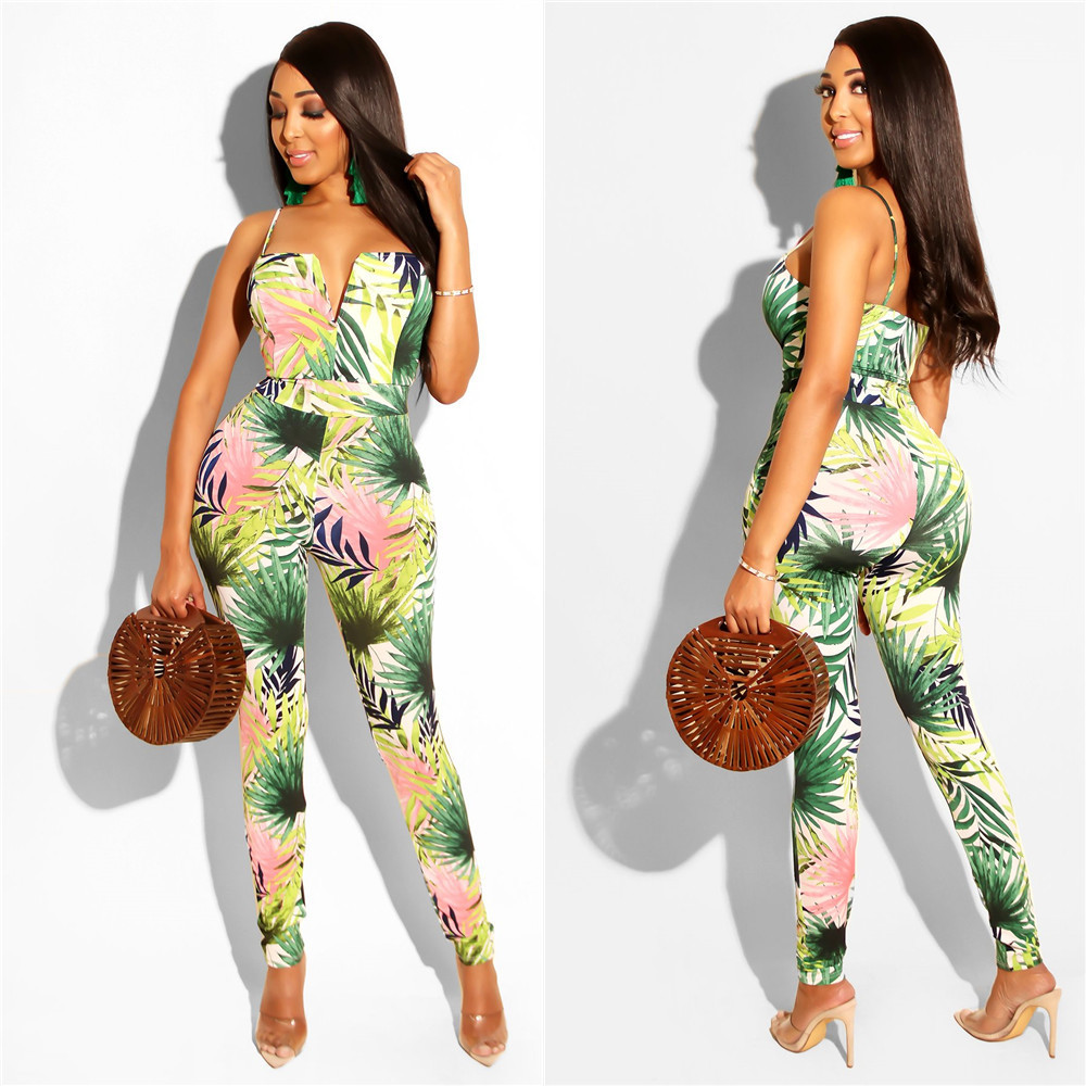 2019 Women Floral Print Spaghetti Strap Sleeveless Plunging V-neck Jumpsuit Beach Casual Long Romper Pencil Playsuit LS6243