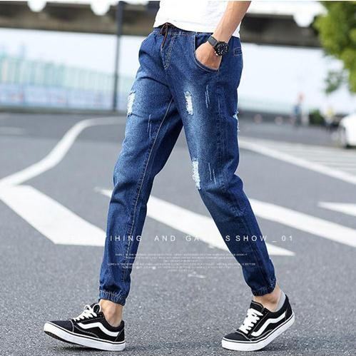 Hot Style Fashion Hole Ripped Jeans Men Elastic Waist Drawstring Stonewashed Ankle Band Pants Teenagers Harem pants Boys M XL in Jeans from Men 39 s Clothing