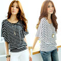 Plus Size Women T-shirt New 2016 Spring Summer Fashion Casual Striped Half Sleeve Ladies' elegant Shirt