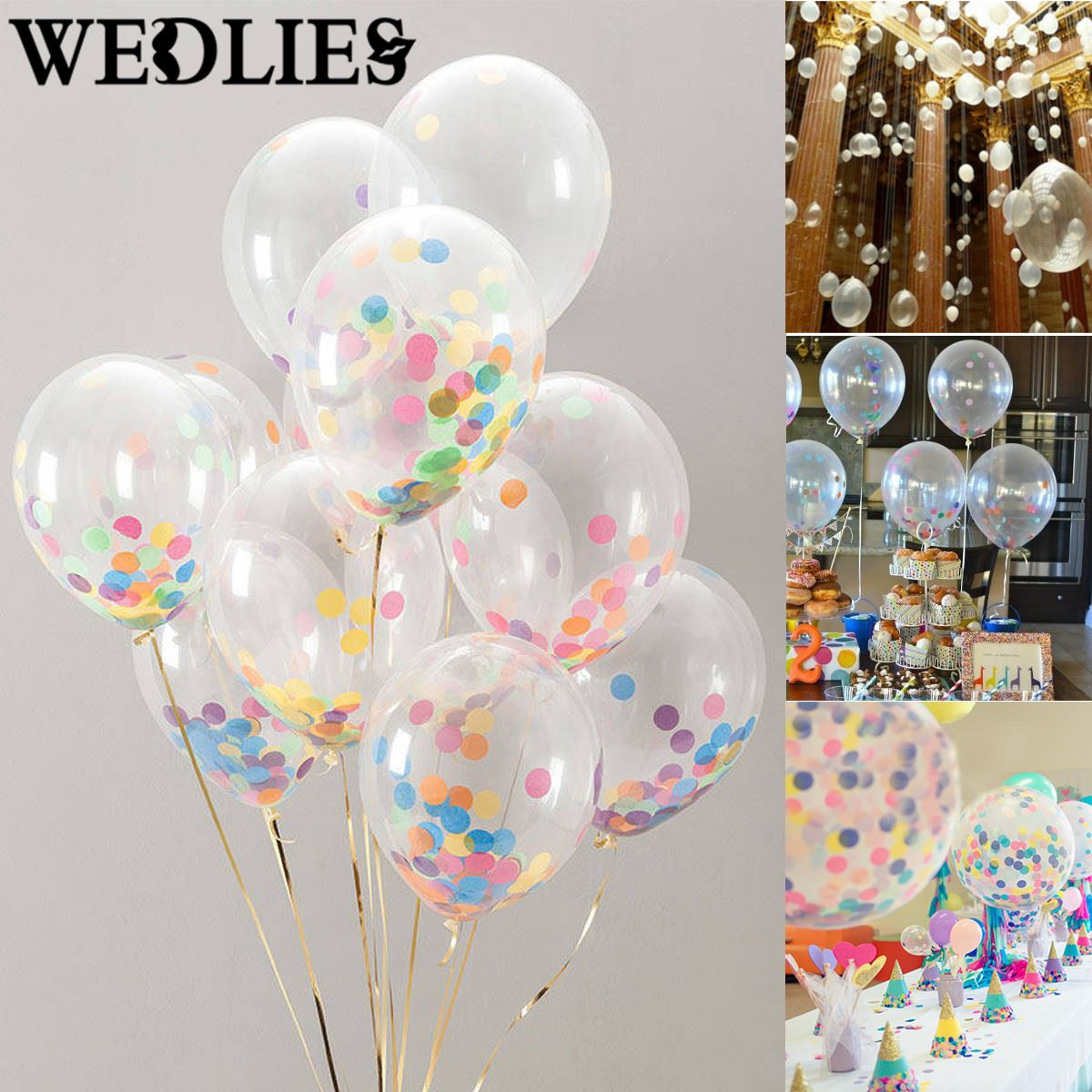 10pcs 12 inch clear latex confetti balloons helium balloons set wedding birthday party events. Black Bedroom Furniture Sets. Home Design Ideas